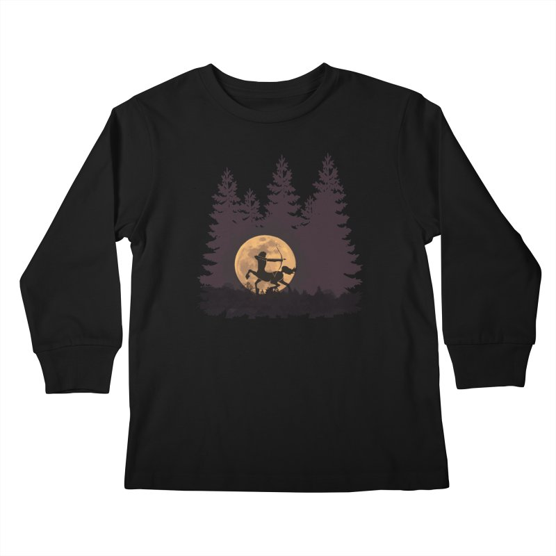 Hunter's Moon Kids Longsleeve T-Shirt by Ferine Fire