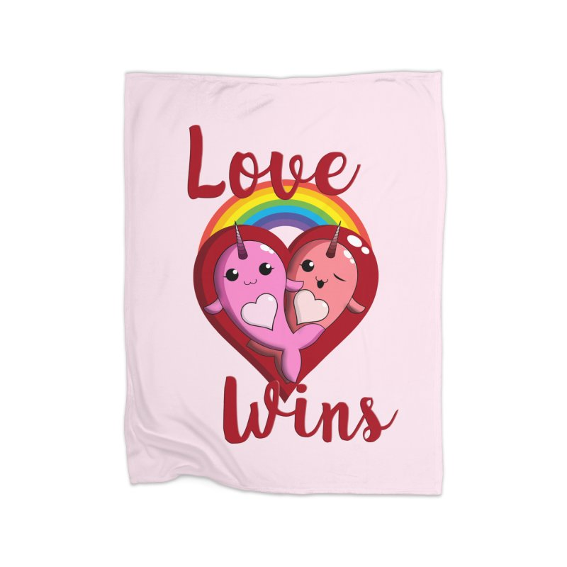 Love Wins Home Fleece Blanket Blanket by Ferine Fire