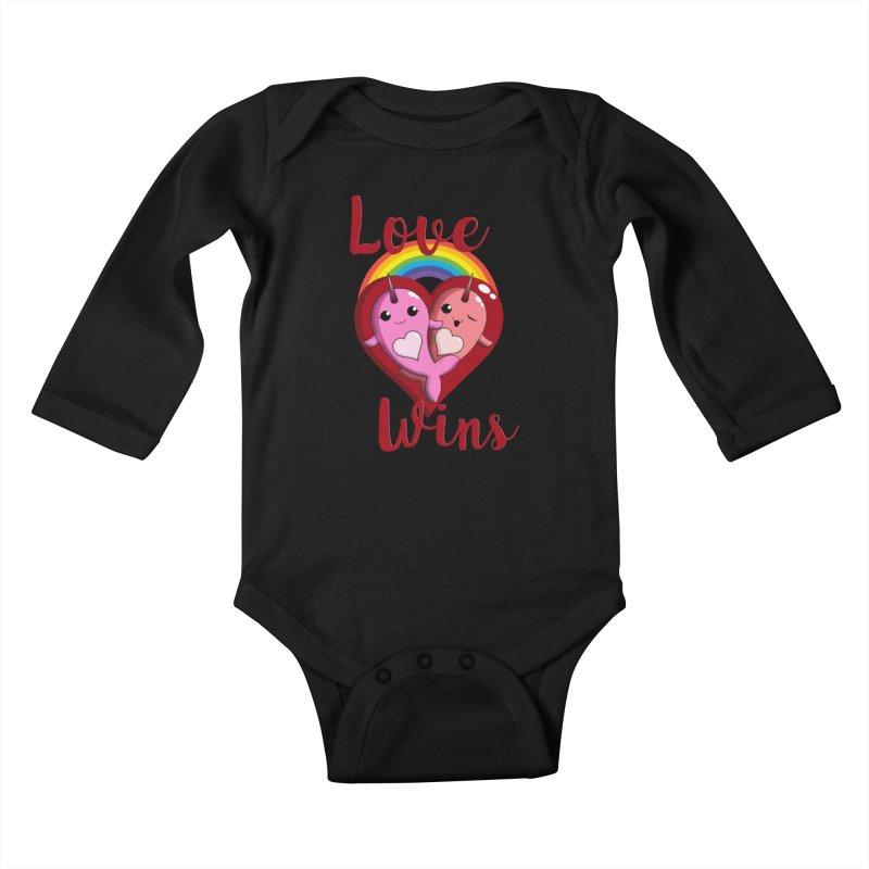 Love Wins Kids Baby Longsleeve Bodysuit by Ferine Fire