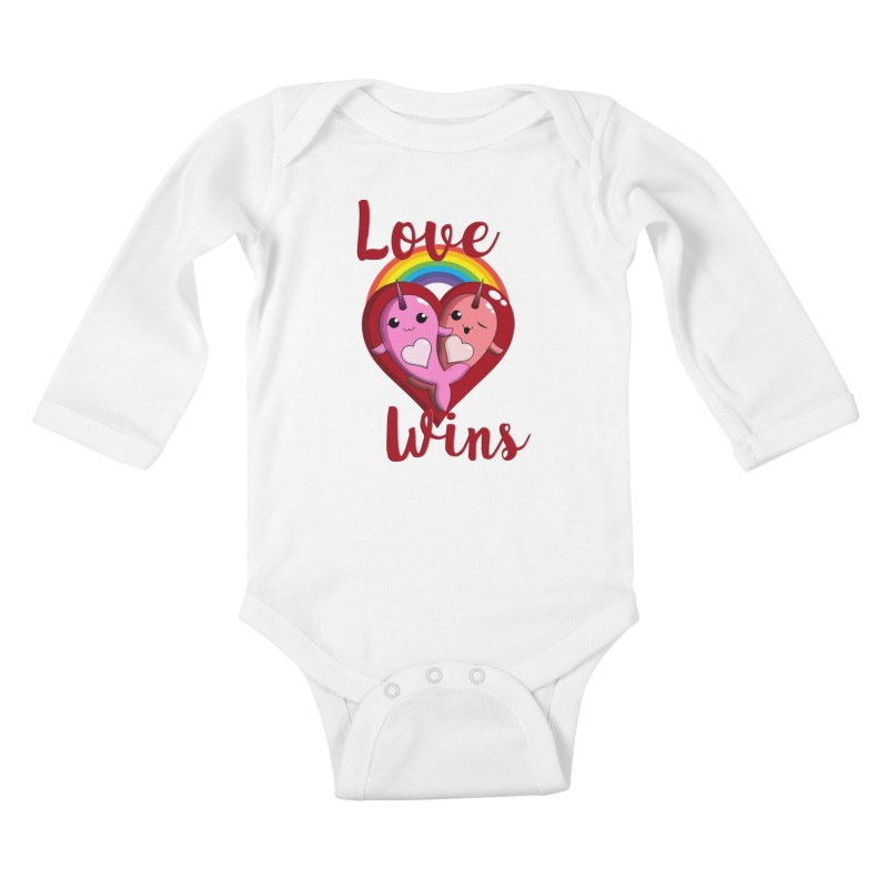 Love Wins Kids Baby Longsleeve Bodysuit by Ferine Fire