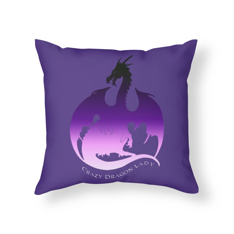Crazy Dragon Lady Home Throw Pillow by Ferine Fire