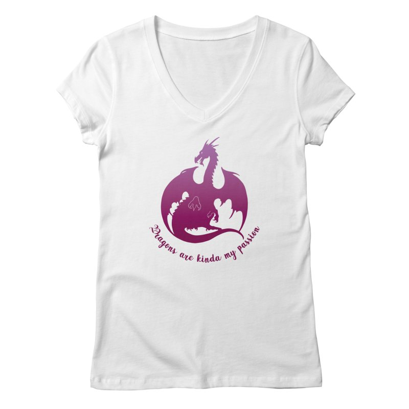Dragons are kinda my passion Women's Regular V-Neck by Ferine Fire