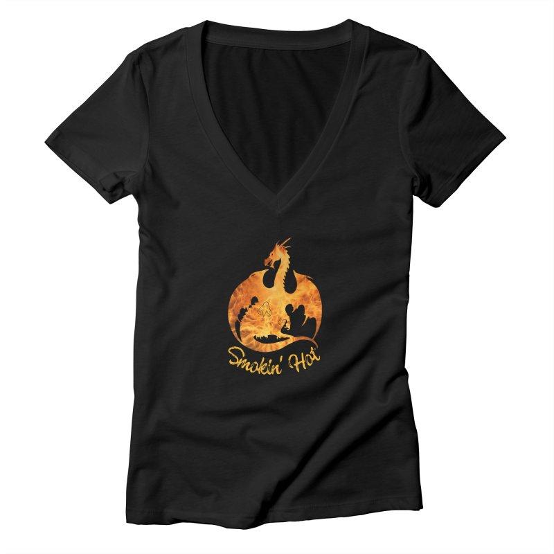 Smokin' Hot Dragon Women's Deep V-Neck V-Neck by Ferine Fire