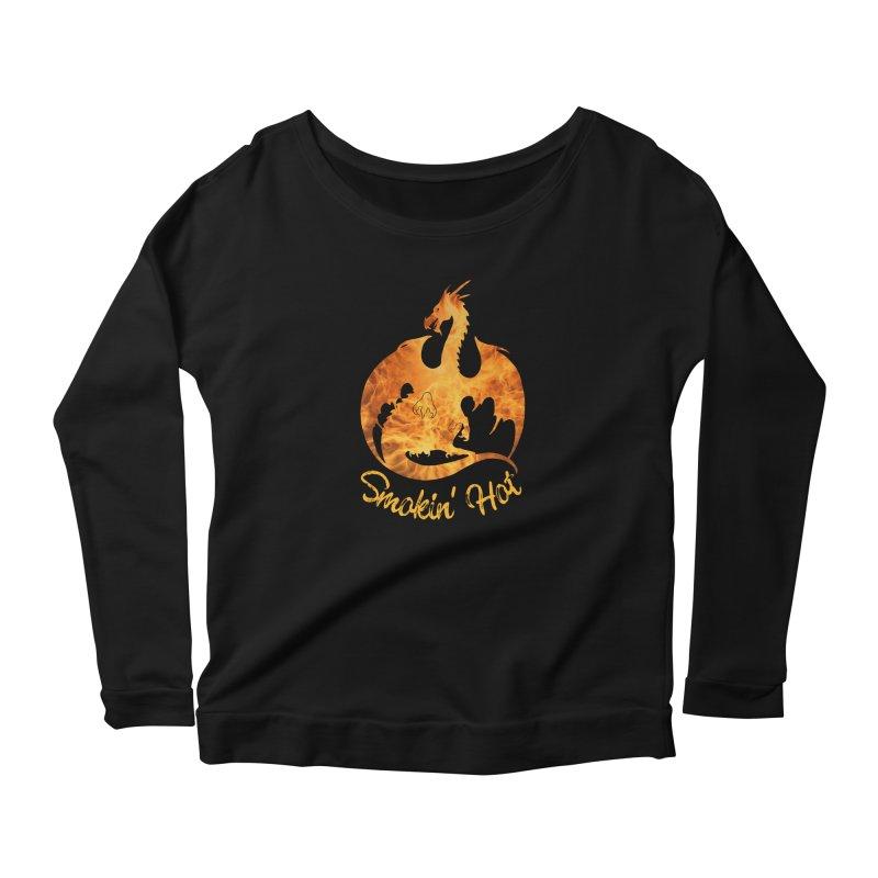Smokin' Hot Dragon Women's Scoop Neck Longsleeve T-Shirt by Ferine Fire