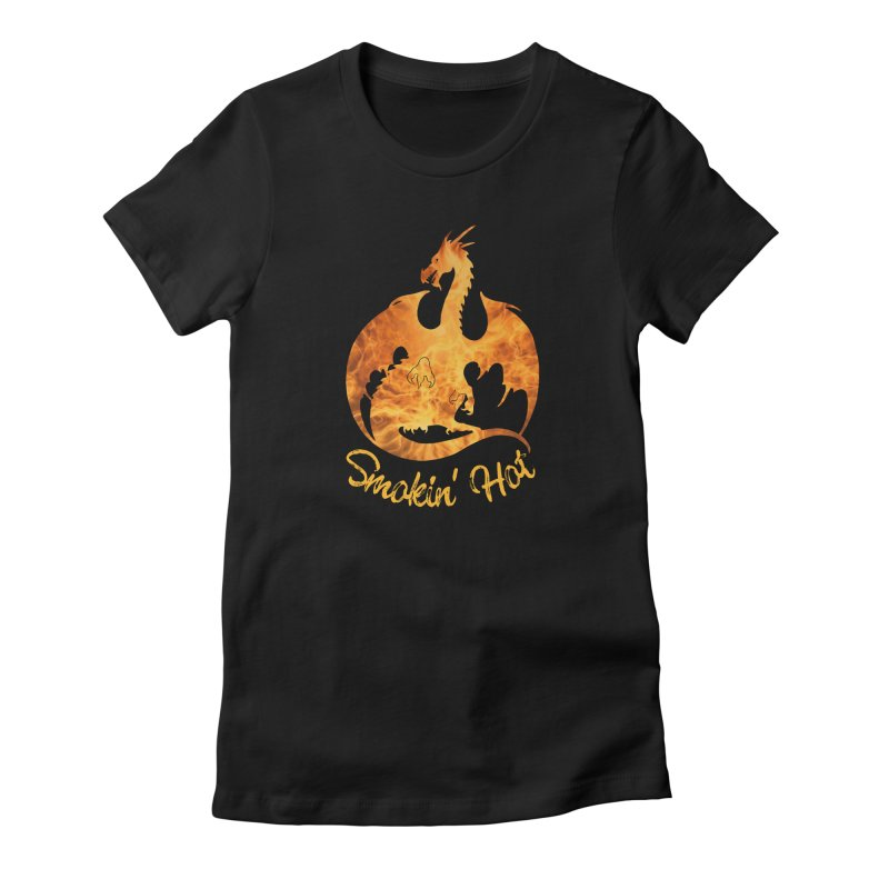 Smokin' Hot Dragon Women's Fitted T-Shirt by Ferine Fire