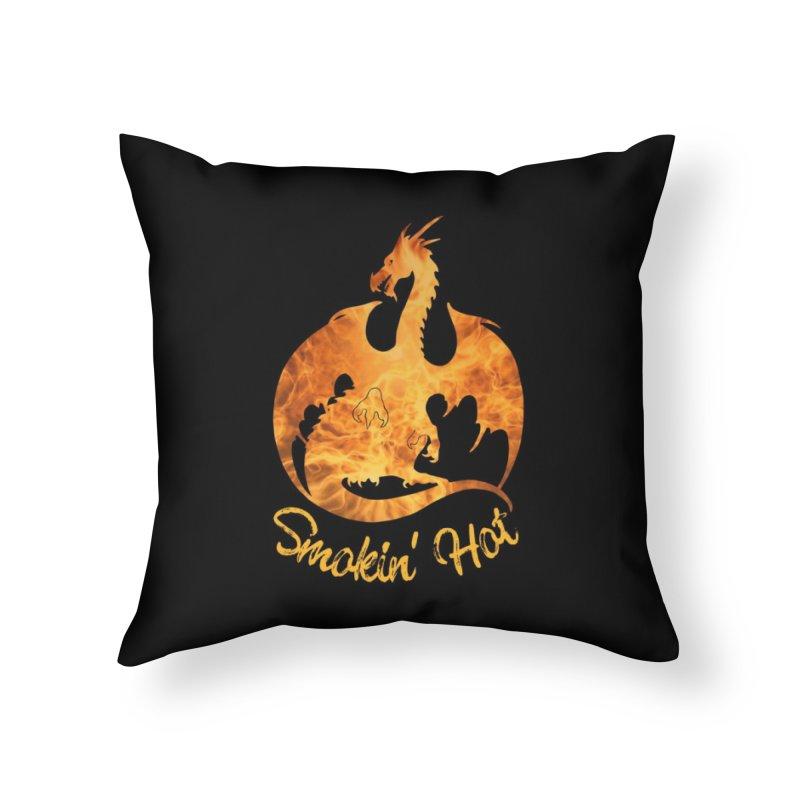 Smokin' Hot Dragon Home Throw Pillow by Ferine Fire