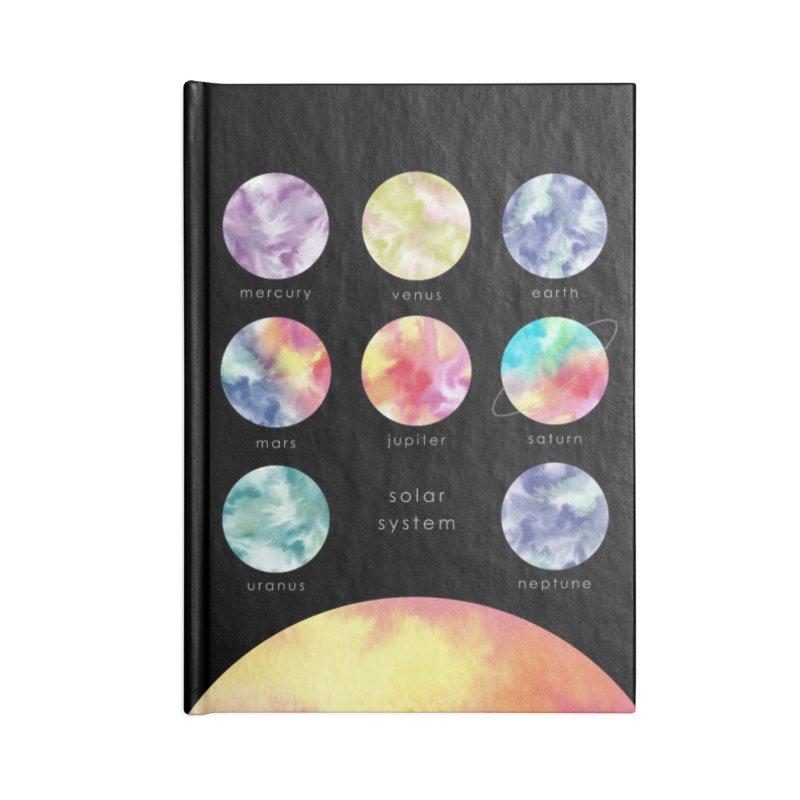 Minimalist Watercolors Solar System Art Accessories Notebook by Ferine Fire