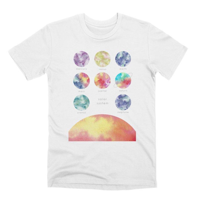 Minimalist Watercolors Solar System Art Men's T-Shirt by Ferine Fire
