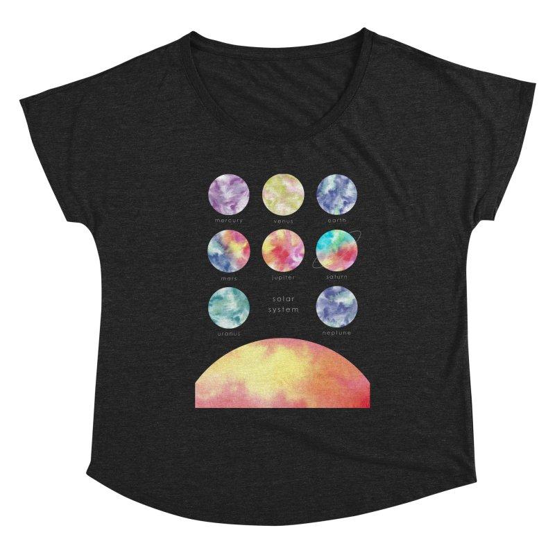 Minimalist Watercolors Solar System Art Women's Scoop Neck by Ferine Fire