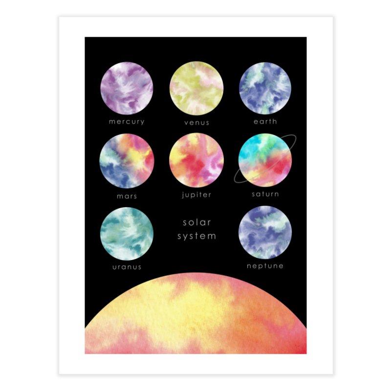 Minimalist Watercolors Solar System Art Home Fine Art Print by Ferine Fire