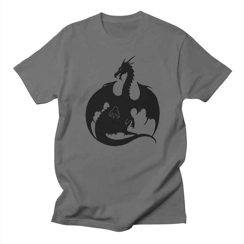 Dragon Silhouette - Black Men's T-Shirt by Ferine Fire