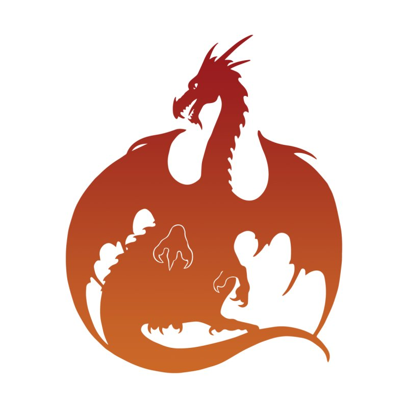 Dragon Silhouette - Red & Orange Men's T-Shirt by Ferine Fire