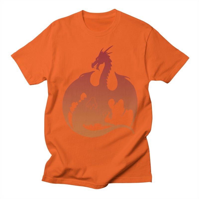 Dragon Silhouette - Red & Orange Men's T-Shirt by Ferine Fire