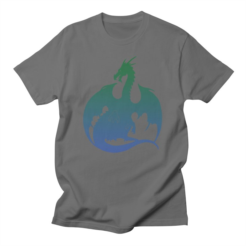 Dragon Silhouette - Green & Blue Men's T-Shirt by Ferine Fire