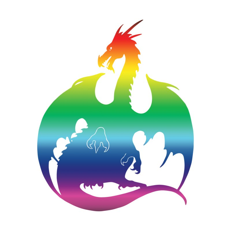 Dragon Silhouette - Rainbow by Ferine Fire