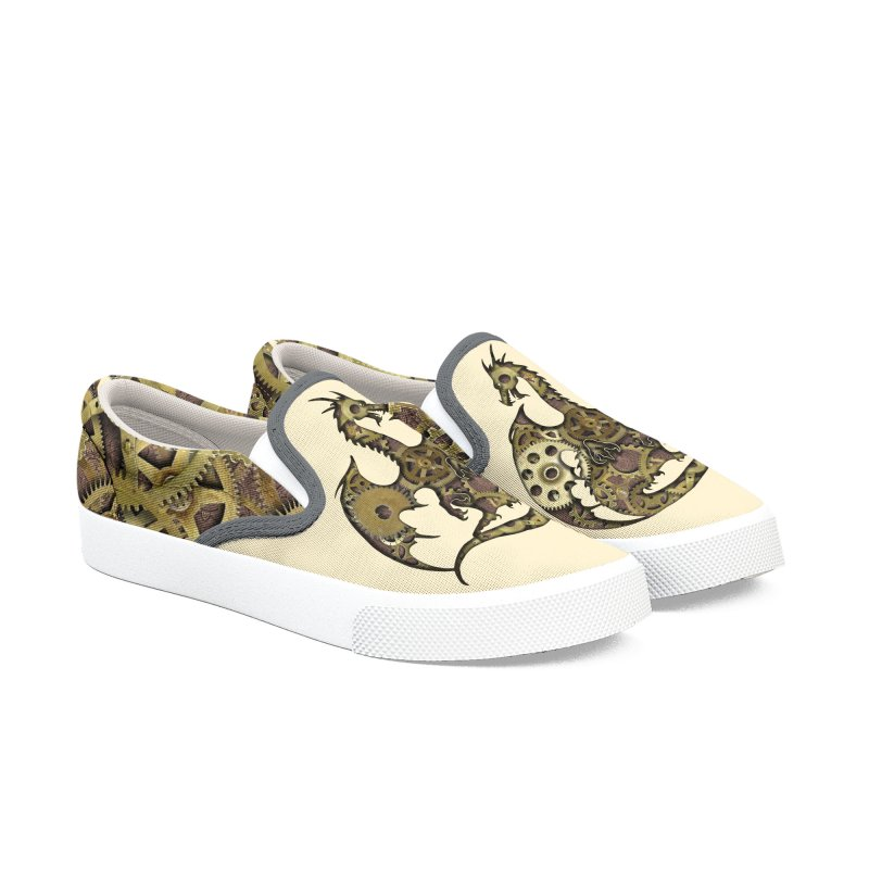 Clockwork Dragon Men's Slip-On Shoes by Ferine Fire