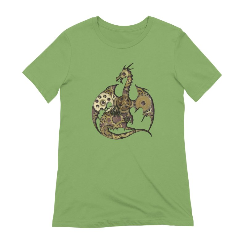 Clockwork Dragon in Women's Extra Soft T-Shirt Avocado by Ferine Fire