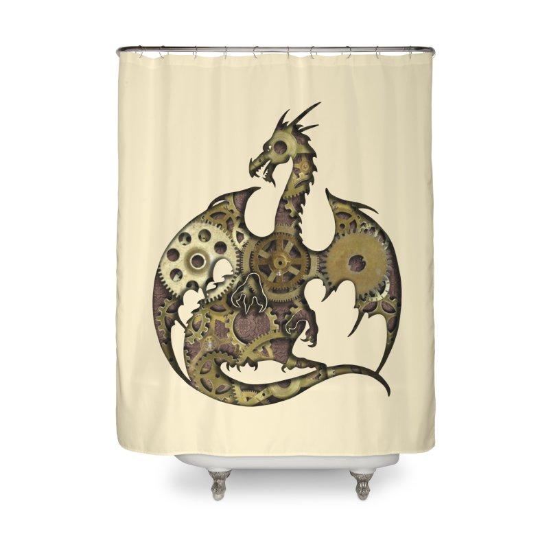 Clockwork Dragon in Shower Curtain by Ferine Fire