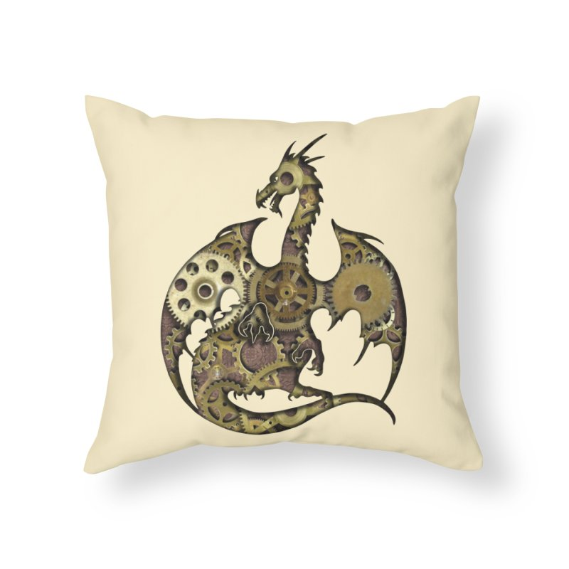 Clockwork Dragon in Throw Pillow by Ferine Fire