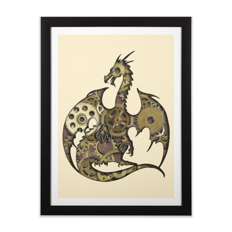 Clockwork Dragon in Framed Fine Art Print Black by Ferine Fire