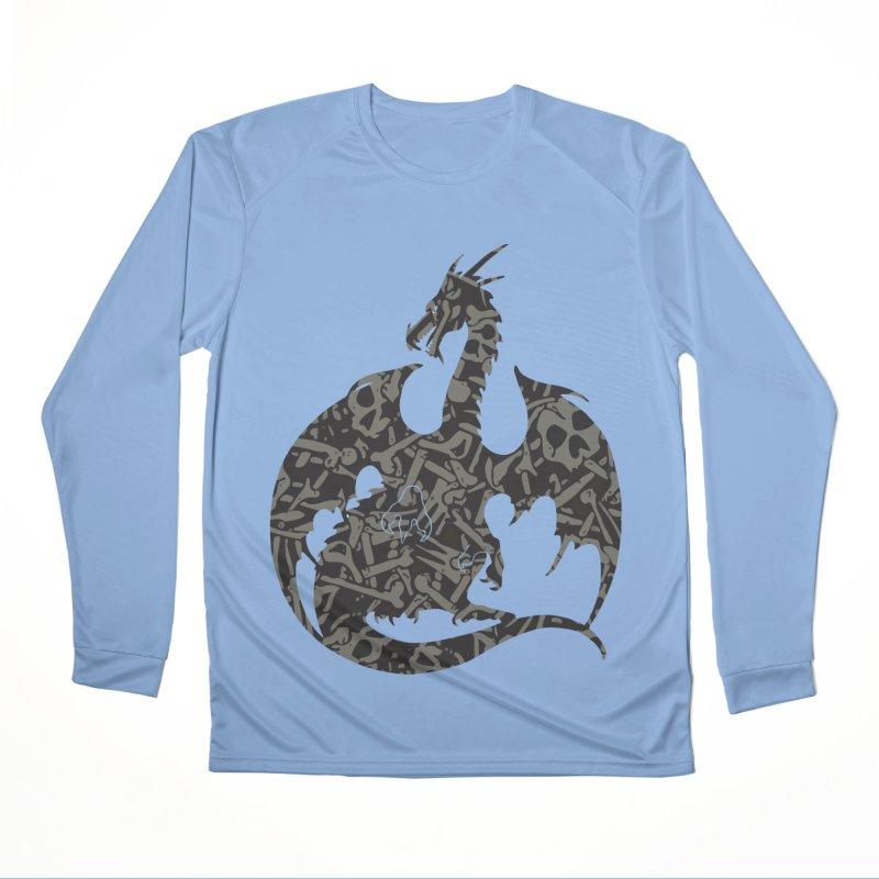 Necromancy Dragon Silhouette Men's Performance Longsleeve T-Shirt by Ferine Fire