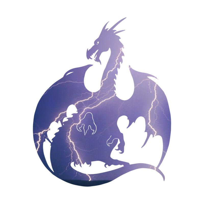 Storm Dragon Silhouette Men's T-Shirt by Ferine Fire