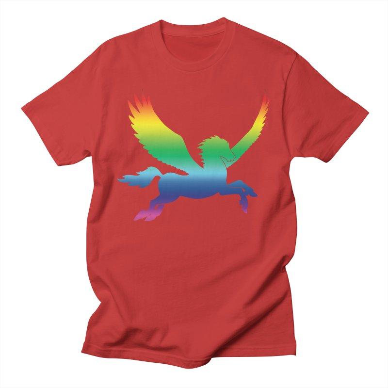 Rainbow Pegasus Silhouette Men's T-Shirt by Ferine Fire
