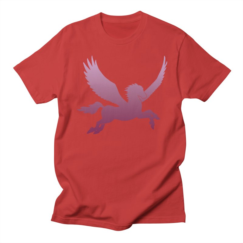 Pink Pegasus Silhouette Men's T-Shirt by Ferine Fire