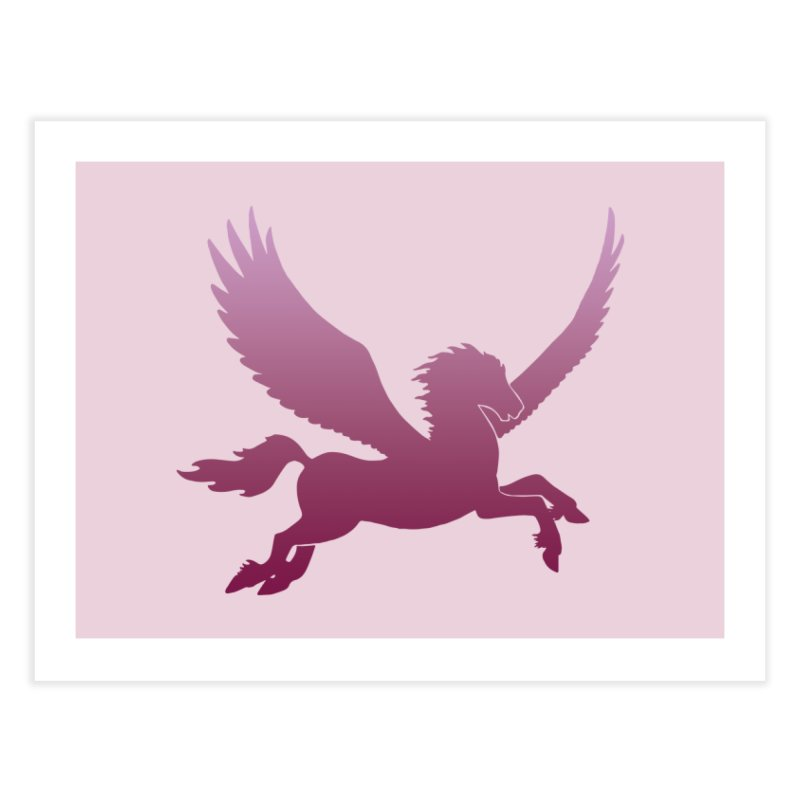 Pink Pegasus Silhouette Home Fine Art Print by Ferine Fire