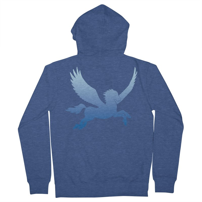 Blue Sky Pegasus Silhouette Men's Zip-Up Hoody by Ferine Fire