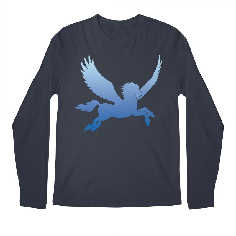 Blue Sky Pegasus Silhouette Men's Longsleeve T-Shirt by Ferine Fire