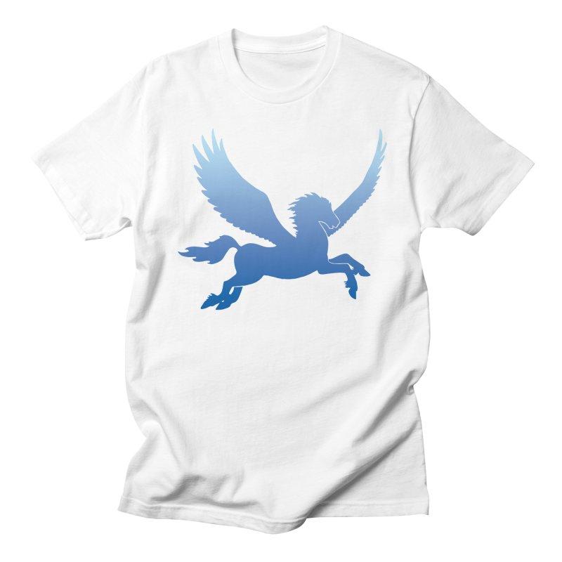 Blue Sky Pegasus Silhouette Men's T-Shirt by Ferine Fire