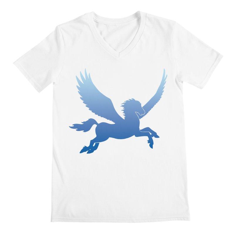 Blue Sky Pegasus Silhouette Men's V-Neck by Ferine Fire