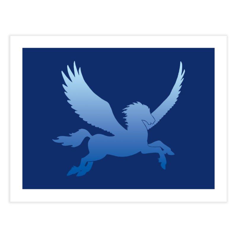 Blue Sky Pegasus Silhouette Home Fine Art Print by Ferine Fire