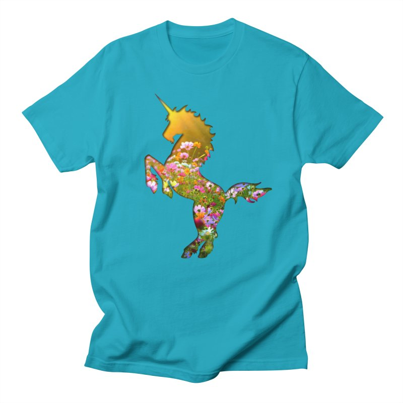 Field of Flowers Unicorn Men's T-Shirt by Ferine Fire