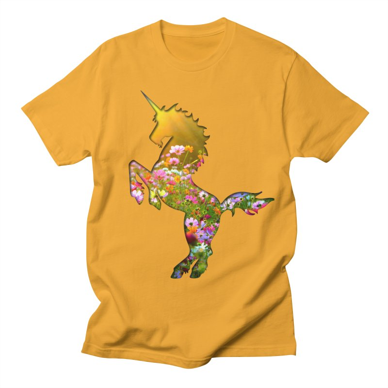Field of Flowers Unicorn Men's T-Shirt by Ferine Fire