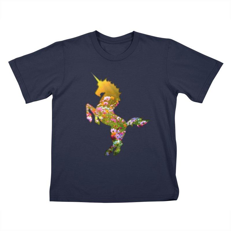 Field of Flowers Unicorn Kids T-Shirt by Ferine Fire