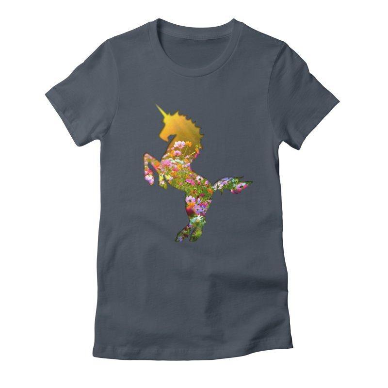 Field of Flowers Unicorn Women's T-Shirt by Ferine Fire