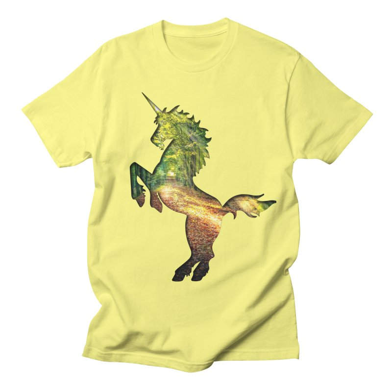 Woodland Path Unicorn Men's T-Shirt by Ferine Fire