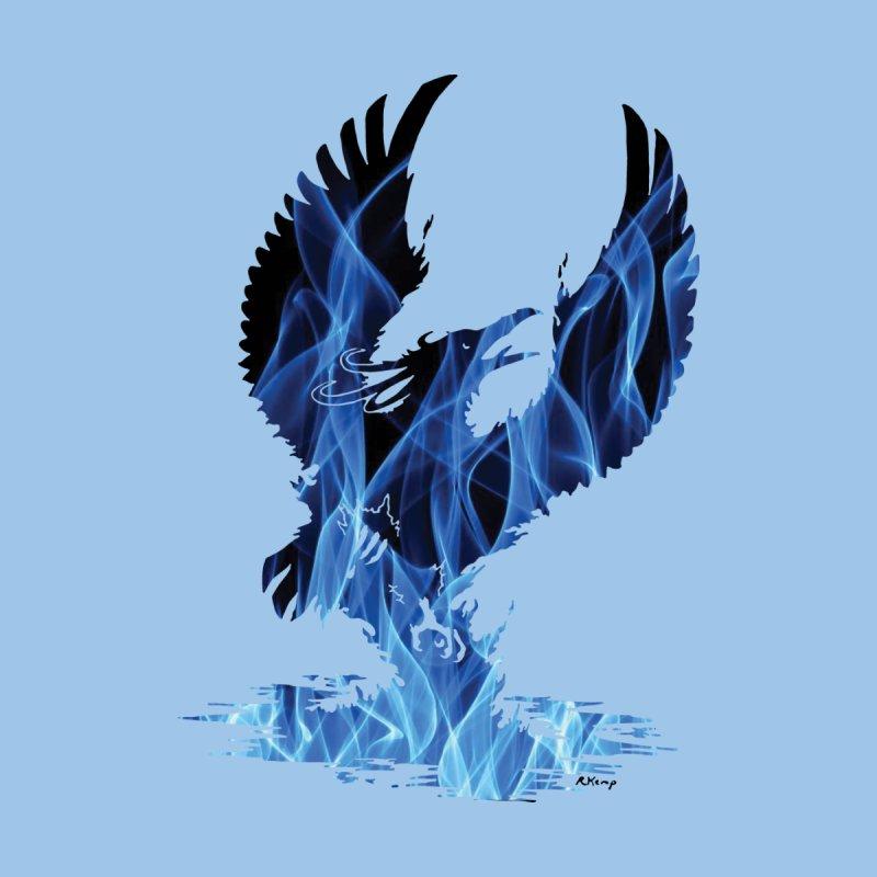 Blue Fire Phoenix Silhouette by Ferine Fire