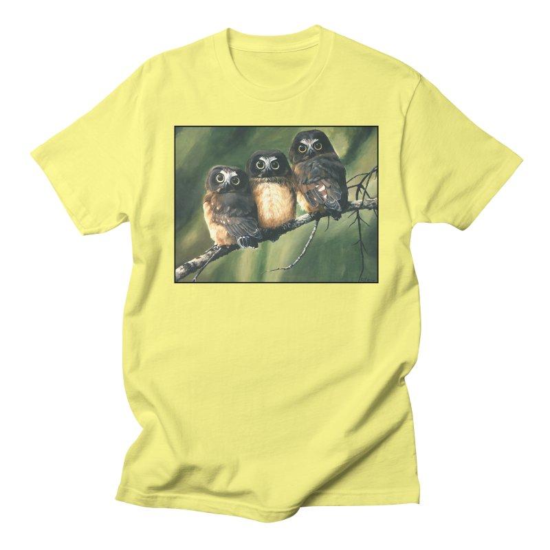 Saw Whet Owls Men's T-Shirt by Ferine Fire