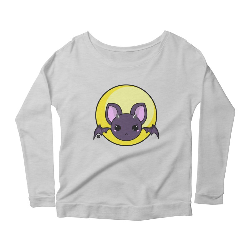batty Women's Scoop Neck Longsleeve T-Shirt by Black and White Shop