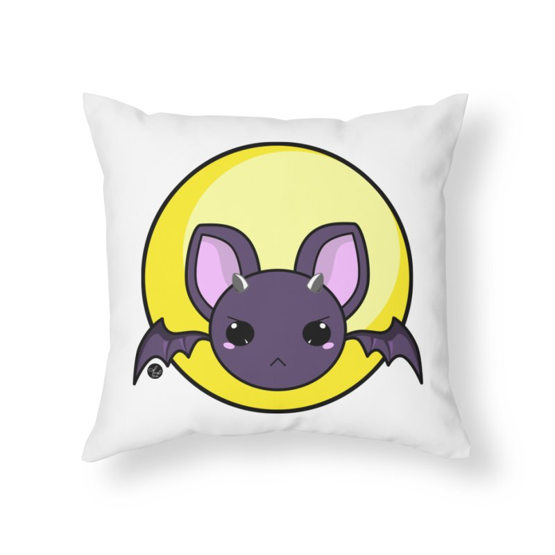batty Home Throw Pillow by Black and White Shop