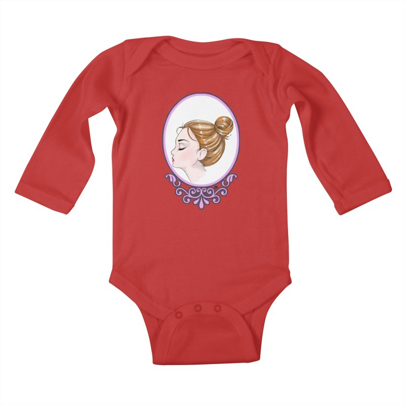 Lady Ornament Kids Baby Longsleeve Bodysuit by Black and White Shop