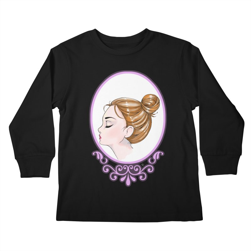 Lady Ornament Kids Longsleeve T-Shirt by Black and White Shop