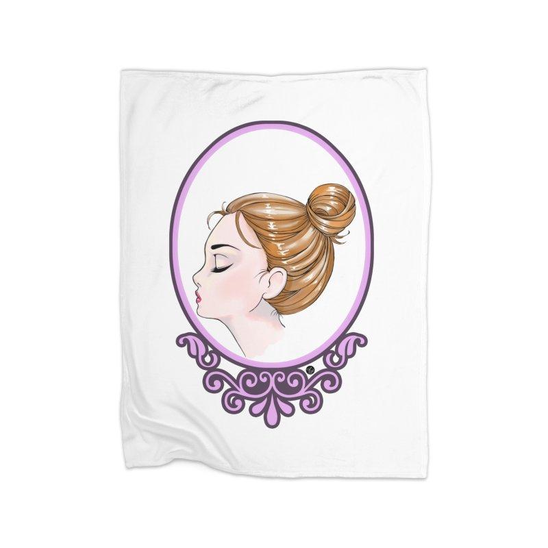 Lady Ornament Home Fleece Blanket Blanket by Black and White Shop