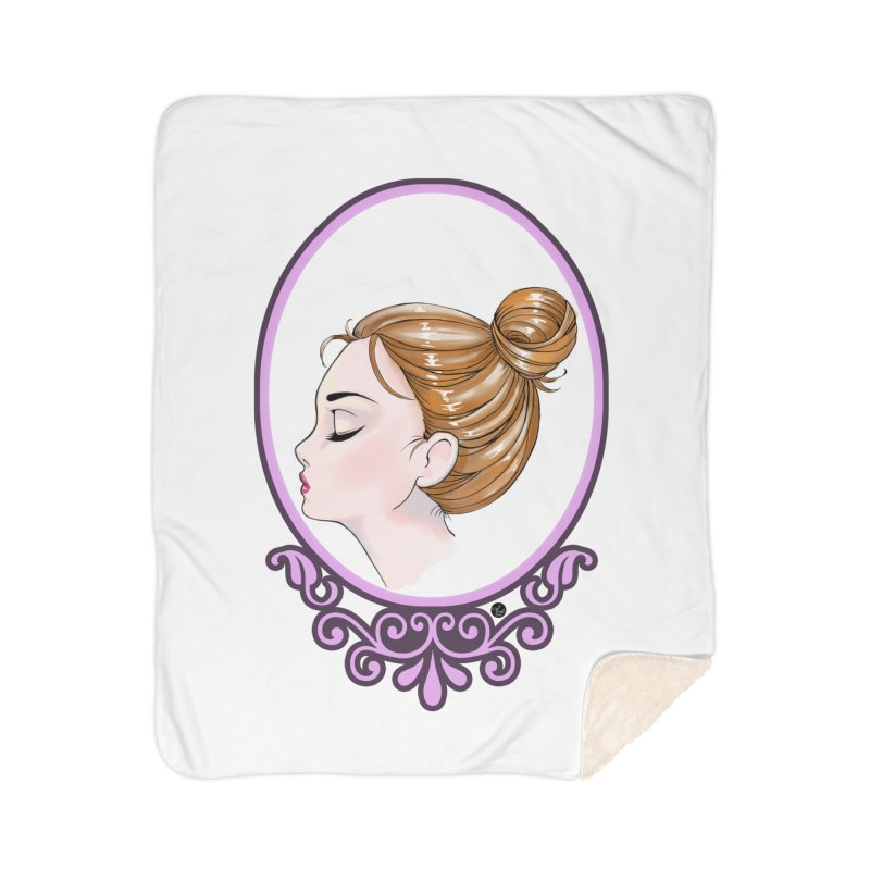 Lady Ornament Home Sherpa Blanket Blanket by Black and White Shop