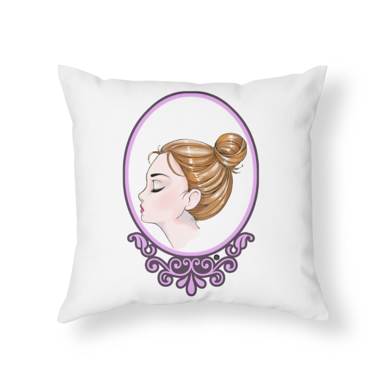 Lady Ornament Home Throw Pillow by Black and White Shop