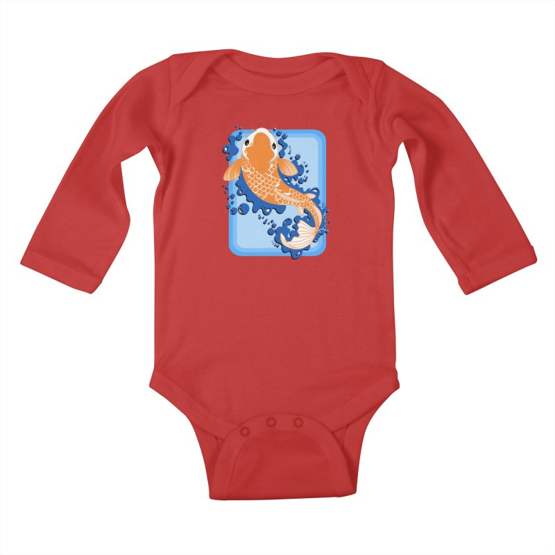 Koi Kids Baby Longsleeve Bodysuit by Black and White Shop