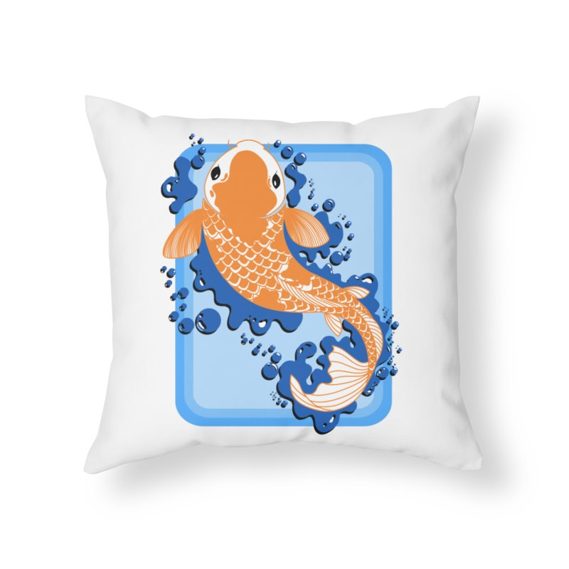 Koi Home Throw Pillow by Black and White Shop